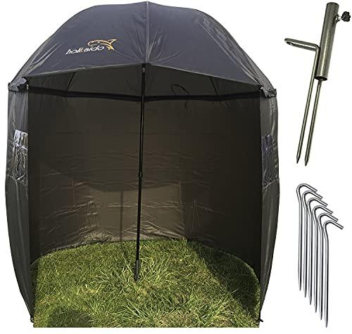 NECO 15021 Parapluie de pêche Ø 220 cm avec cape, support de parapluie et piquets de terre, protection contre la pluie, le vent et les rayons UV, pour 1 homme et un bagage à la carpe + étui gratuit