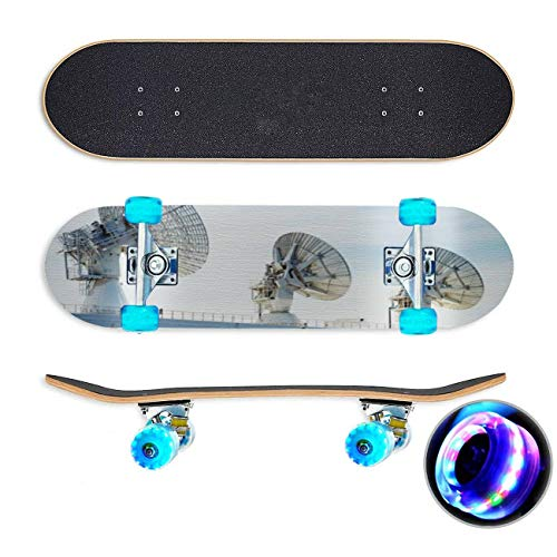 UYDBKSJABM Missile Tracking Satellite Dishes Skateboard Colorful Flashing Wheels Extreme Sports&Outdoors 31''Cruiser Complete Standard Longboard Beginners Kids Cool Boys Teen