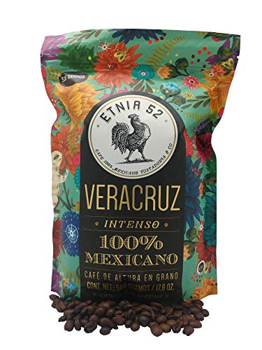 Etnia 52 - Veracruz (Intenso), Mexican Whole Bean Coffee, 1 lb. or 16 oz., Kosher Certified (KMD), Made in Mexico, includes Ebook