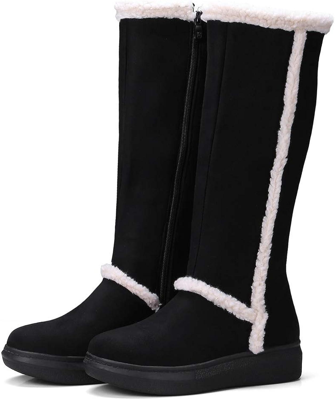 MHCDXGN Damen-Hohe Stiefel Herbst Und Winter Dicke Wildleder Mode Lässig Lässig Lässig Student Schnee Stiefel  5341b8