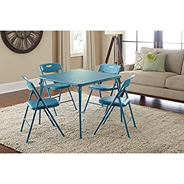 Cosco Vinyl Folding Table with Chairs Set, Game Table , Poker Table (Teal)