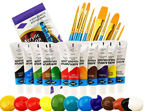 Acrylverfset, 12 Kleuren&10 kunstborstels, Niet giftige verf, Rijke Pigment met Levendige Kleuren voor Canvas, Hout…