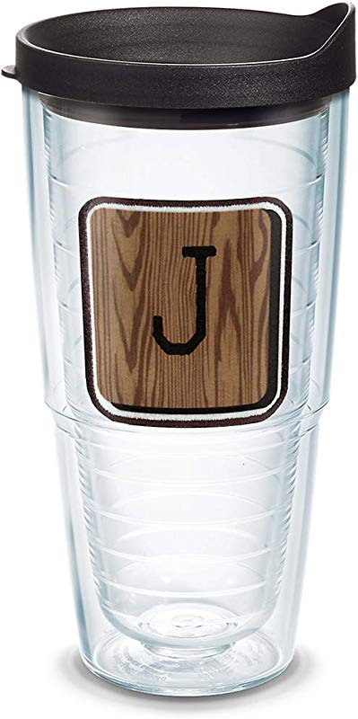 Tervis 1316678 INITIAL J Wood Tile Insulated Tumbler With Emblem And Lid 24 Oz Tritan Clear