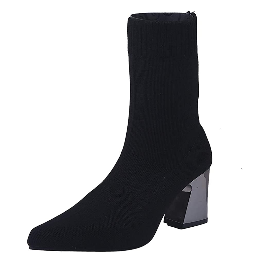 Baiggooswt Ankle Boots Women Stretch Fabric Booties Mid High Heel Pointed Toe Retro Slip-On Solid Color Shoes