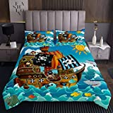 Homewish Pirate Ship Pattern Blue Sea Decor Bedspread Micorfiber Coverlet Set 2pcs for Kids Boys Teens Quilted Coverlet Soft Polyester Quilt Set (1 Bedspread + 1 Pillow Case) Twin Size