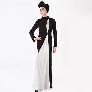 فستان طويل الأكمام المسلمين للنساء زي وطني روب ملابس غير رسمية للعباة، أسود، M