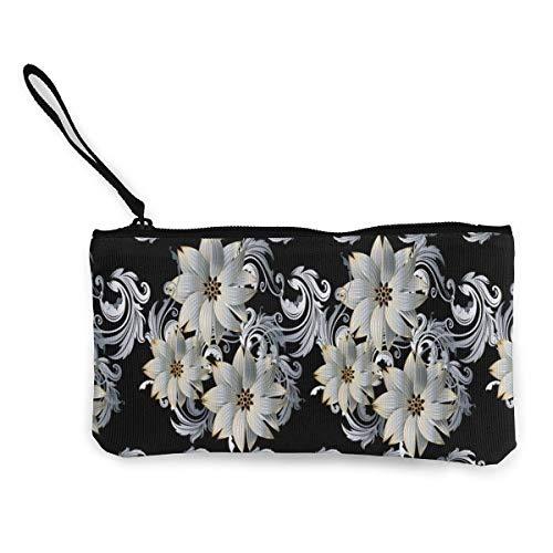 Yuanmeiju Moderno Floral Blanco 3D Negro Barroco Lindo Lienzo Cambio Monedero Monedero Bolsa Bolsa Cremallera Titular Monedero Correa de muñeca Maquillaje Estuche de lápices Personalizado