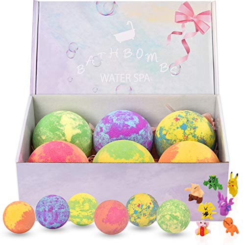 6 Large Bath Bombs for Kids with Surprise Toys Inside, Kids Safe Organic Bubble Bath Bombs Gift Set, Natural Vegan Essential Oil Spa Bath Bombs for Kids Girls Boys Birthday (4.2 oz)