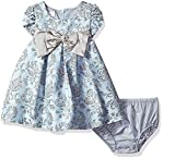 Bonnie Baby Baby Girls Short Sleeve Jacquard Party Dress, Blue, 6-9 Months