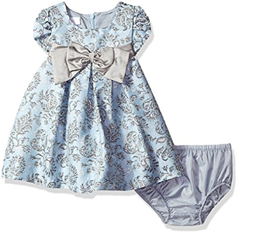 Bonnie Baby Baby Girls' Baby Girls Short Sleeved Brocade Float with Taffeta Bow, 12M Blue