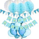 ZSQQSCL Decoraciones Fiesta Cumpleaños,Simple Caja Azul No Tóxicos Ballons Set(38 Pcs), Tarjeta De Cumpleaños Bandera Azul, Triángulo Borla Banner, Globos De Látex Multicolor para Niños, Adulto,Cump