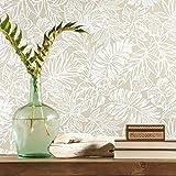RoomMates - Papel pintado para pared, diseño de hojas tropicales, color beige
