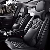 Car Seat Covers Full Set with Waterproof Professional Grade Deluxe Leather,Airbag Compatible Universal Automotive Vehicle Cushion Cover Fit for Most of 5 Seats car FedEx Shipment from USA (Black)