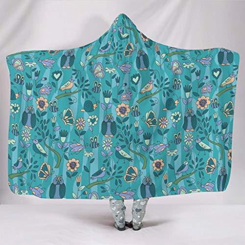 Fineiwillgo Búhos, pájaros, animales, flores, plantas, con capucha, supersuave, cómoda y acogedora manta con capucha para adolescentes, sofá chaise longue blanco, 150 x 200 cm