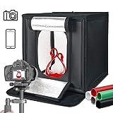 SH Photo Studio Light Box, Professional Light Box, 16x16x16 inch Adjustable Brightness Portable Folding LED Light Photo Studio Box, 5 Colors PVC Backdrops