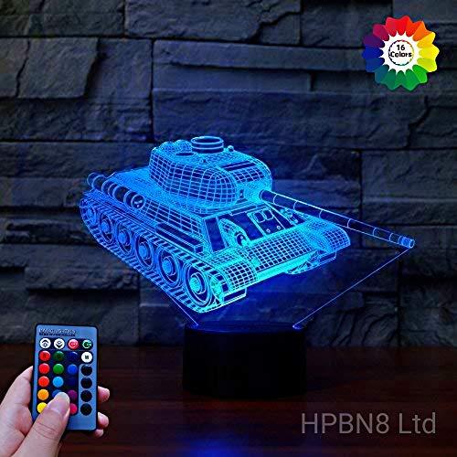 HPBN8 3D Panzer Illusions LED Lampen 7/16 Farbwechsel Fernbedienung Berühren Nachttisch Schreibtisch-Nachtlicht USB-Kabel für Kinder Schlafzimmer Geburtstagsgeschenke Weihnachten Geschenk