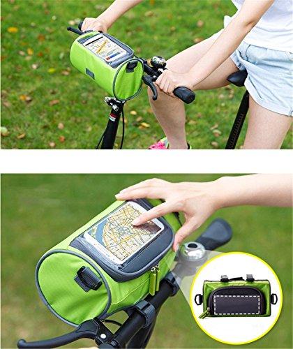 SMLRO Borse di manubrio, borsa da bicicletta impermeabile all' acqua con sacchetto in PVC trasparente e cinghia épaulière rimovibile/borsa da manubrio anteriore PVC trasparente per carte all' aperto