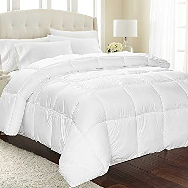 Equinox All-Season White Quilted Comforter - Goose Down Alternative - Duvet Insert Set - Machine Washable - Hypoallergenic - Plush Microfiber Fill (350 GSM) (Queen)