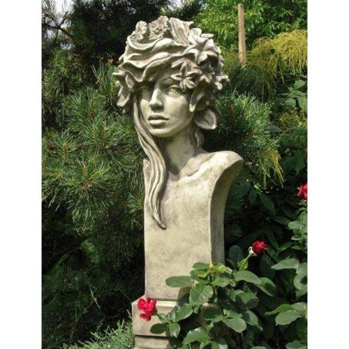 Vidroflor Büste Moderne Romantik ROSI, Steinguss Gartenskulptur, B/H: 30/72cm, wetterfeste Figur für den Außenbereich
