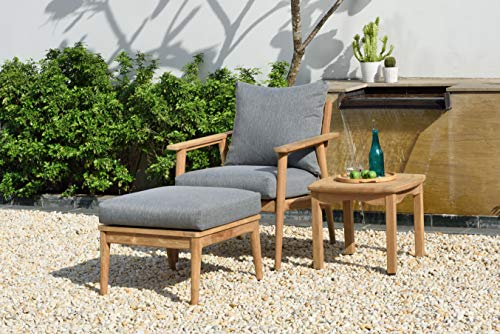 Brampton Grenoble 3-Piece Outdoor Teak Wood Furniture with Cushions   Ideal for Patio and Indoors Seating Set, Grey