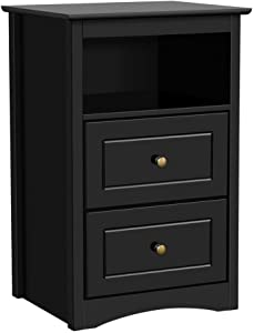 Yaheetech Black Bedside Table Sofa Side End Table Modern Nightstand Snack Table with 2 Drawer and 1 Cubby