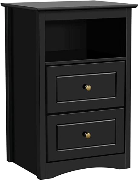 Yaheeetch Tall End Tables Bedside Nightstand With 2 Drawers And Open Shelf Sofa Side Storage Table For Bedroom Black