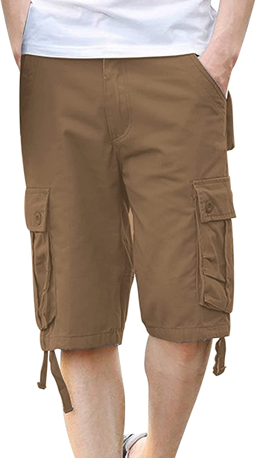Huangse Men's Plus Size Classic Cargo Shorts Belted Zip Up Relaxed Fit Multi-Pockets Casual Outdoor Lightweight Work Shorts