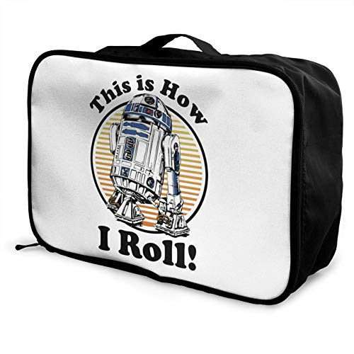 R2-D2 Travel Duffel Bag Tote Carry on Lage Sport Duffle for Men Women Portable Makeup Beauty Bag Organizer