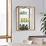 Displaysense Wall Mounted Glass Display Cabinet with Lighting (Black, Silver & Oak available) (Oak)