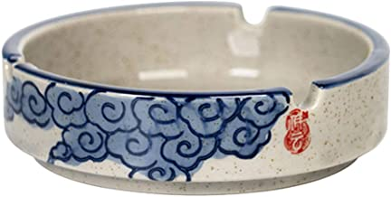 TOPBATHY Ceramic Ashtray Japanese Style Cigarette Cigar Smoking Ashtray For Home Office Decorations (Blue)