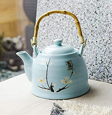 Ebros Japanese Sakura Cherry Blossom Design In Pastel Sky Blue Colors Ceramic Tea Pot 36OZ With Bamboo Handle Home Decor Asian Living Teapot Decorative Party Hosting Dining Table Accent Collectible