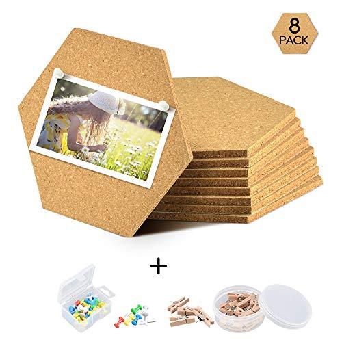 Yoassi 8 Pack Pinnwand Kork DIY Sechseckige Korkplatte Selbstklebende Fliesen selbstklebende DIY Korkwand Multifunktionale Anwendung für Foto hängen Heimdekoration Büro