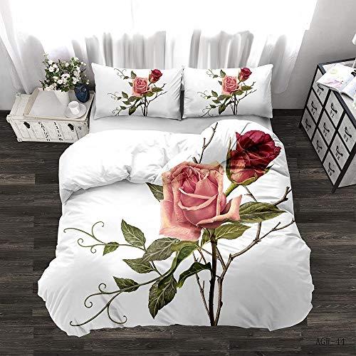 Zyttao Ropa de Cama con Estampado de Rosas en 3D, Novia, tamaño King Doble Individual, cómoda Funda nórdica y Funda de Almohada-2_140 * 210cm2 (pcs)