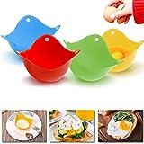 4Pcs Egg Poacher, Mini Silicone Egg Poaching Cups Egg Cooker Egg Poacher Poaching Pods, Fo...