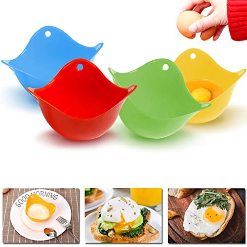 4Pcs Egg Poacher, Mini Silicone Egg Poaching Cups Egg Cooker Egg Poacher Poaching Pods, For Microwave, Egg Poacher Pan, Egg Cookware, Stovetop, BPA Free, Dishwasher Safe