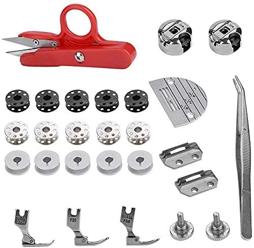 Juego de accesorios para máquina de coser, 27 piezas, accesorios para máquina de coser industrial, piezas de repuesto regulares, útil y práctico, diseño práctico y práctico.