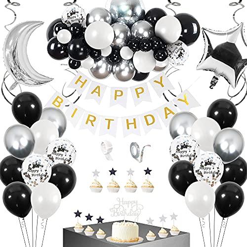 SPECOOL Globos Decoración Cumpleaños, Globos Cumpleaños Decoracion de Globos Blancos Negros y Plateados Globos Negros para Fiesta de Cumpleaños para Hombres Niño Niña