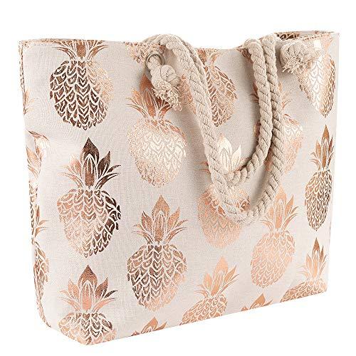 Women Pineapple Large Canvas Tote Bag Summer Beach Bag Rope Handles Shoulder Bag Travel Handbag (Champagne)