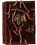 Cuaderno de piel, diseño de dragón, diario, páginas en blanco, marrón, álbum de poesía,...