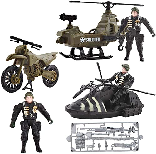 deAO 3er-Pack Original-Spielset für Militärfahrzeuge aus Druckguss mit verschiedenen Spielzeugen für Armeefahrzeuge - Mini-Spielzeug für Armee, Motorrad, Schnellboot, Panzer, Hubschrauber für Kinder