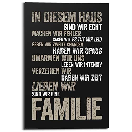 Schilderij Deco Panel In diesem Haus Duitse tekst - Familie - Spreuken - 60 x 90 cm