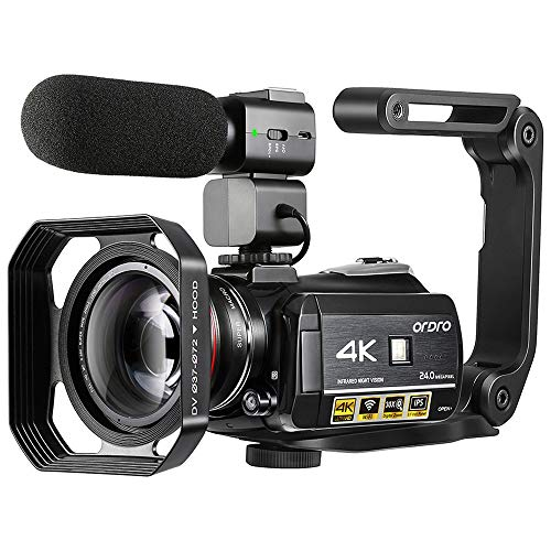4K Camcorder, ORDRO AC3 Ultra HD Video Camera 1080P 60FPS IR Night Vision Camcorder and WiFi...