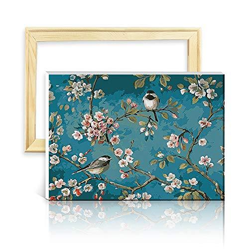 ufengke Kit Pintura de Diamantes 5D Almendro en Flor Punto de Cruz Diamante Completo DIY para Amantes del Arte, con Marco de Madera, Diseño 25x35cm