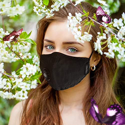 OAXYGEN Face Mask for Men Women with 2 Replacement Filters Dust Proof Fabric Cover/BLACK