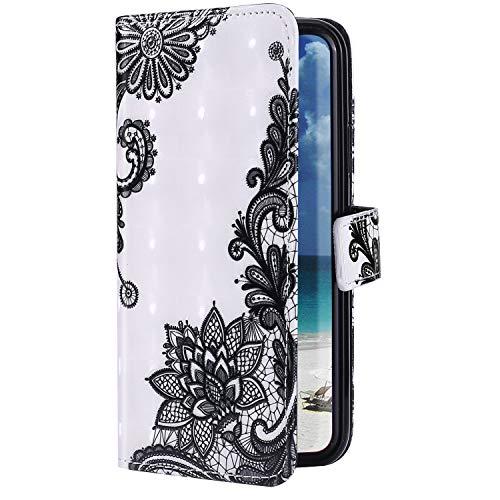 Uposao Kompatibel mit Samsung Galaxy A41 Hülle Bling Glitzer Glänzend 3D Bunt Muster Schutzhülle Leder Handyhülle Klapphülle Ledertasche Wallet Flip Case Ständer Kartenfächer,Schwarz Blumen