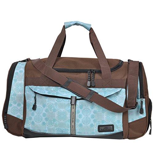 KEANU Sporttasche Adventure Damen Herren ** Viele Fächer z.B. Schuhfach, Seitentaschen, Vordertasche ** 45 Liter Fitness Tasche Sport Sauna Tasche Reisetasche Handgepäck (Braun Ornament)