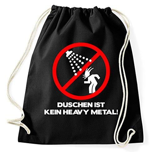 Styletex23 Duschen ist kein Heay Metal Turnbeutel Sportbeutel, schwarz