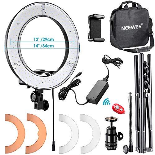 Neewer 34cm Luce LED Anulare Esterno con Light Stand + Braccetto Flessibile + 2 Filtri Colorati + Adattatore Hotshoe + Ricevitore Bluetooth per Smartphone, Youtube, TikTok, Auto-riprese, 36W 5500K