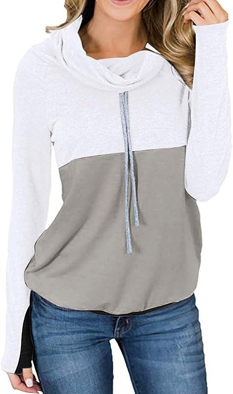 Winter Clearance Women Color Block Patchwork Long Sleeve Drawstring Sweatshirt Blouse