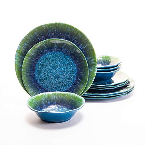Juego de vajilla de melamina, 12 piezas, platos de color verde azulado, cuencos para exteriores, no microondas, no horno